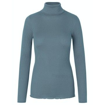 ROSEMUNDE - Damen Rollkragen - Silk T-Shirt Regular Roller Neck - Stormy Weather