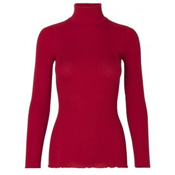 ROSEMUNDE - Damen Top - Silk T-Shirt Roller Neck - Deep Red