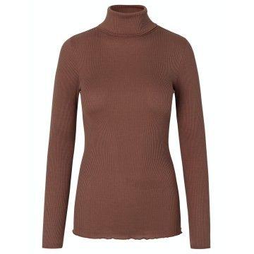 ROSEMUNDE - Damen Rollkragen - Silk T-Shirt Regular IS Roller Neck - Chocolate Fondant
