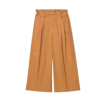 LUISA CERANO - Damen Hose - Popeline Widelegs Pants - Cinnamon