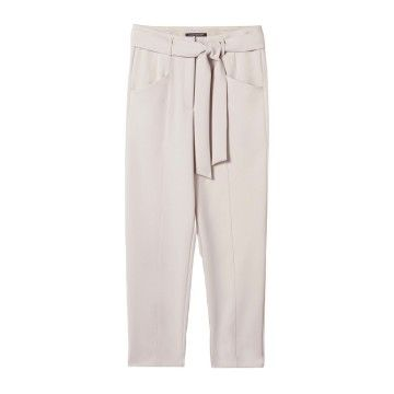 LUISA CERANO - Damen Hose - Tapered Pants mit Bindegürtel - Light Greige