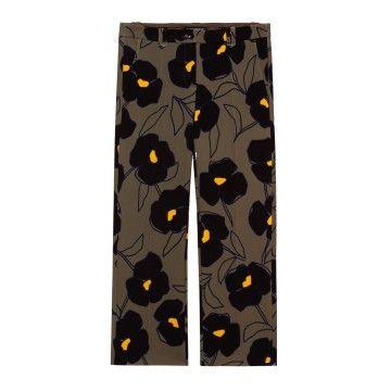 LUISA CERANO - Damen Hose - Crêpe-Pants mit Blumen-Print - Rough Khaki