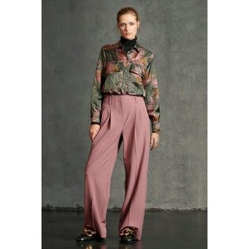 LUISA CERANO - Wideleg-Pants mit Bundfalte / Standard - Rosewood