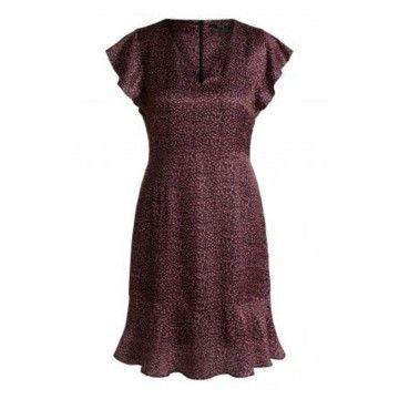 SET - Damen Kleid - Blumenkleid aus Seidenmix - Black Red