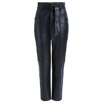 SET - Damen Hose - Essentials Pants Leder - Black