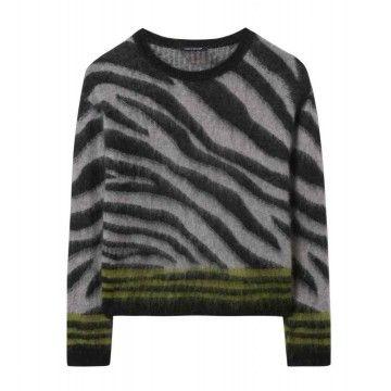 LUISA CERANO - Damen Pullover - Jaquard - Light Greige/Black