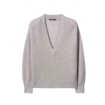LUISA CERANO - Damen Pullover - Strickpullover V-Ausschnitt - Greige