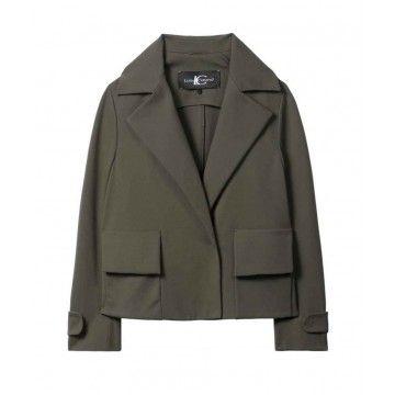 LUISA CERANO - Damen Blazer - Jacke mit Trench Revers - Dark Olive