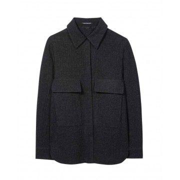 LUISA CERANO - Damen Overshirt - aus Woll-Mix - Dark Anthracite