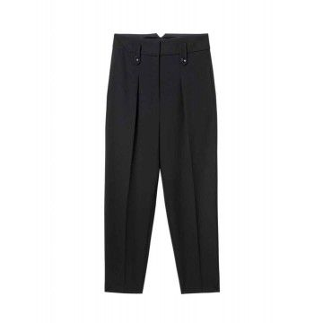 LUISA CERANO - Damen Hose - Tapered Gabarine Pants - Black