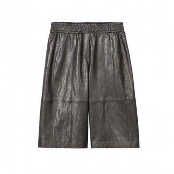 LUISA CERANO - Damen Shorts - Bermuda aus Fake - Leather - Warm Grey
