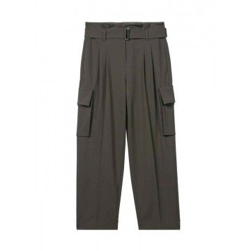 LUISA CERANO - Damen Hose - Paperbag-Pants mit Gürtel - Dark Olive