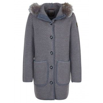 CERVOLANTE - Damenmantel - Cardigan Finnracoon Collar - Grey/Noi