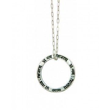 EINS BERLIN - Halskette - Shiva Mantra Silber - Schwarzes Stoffband