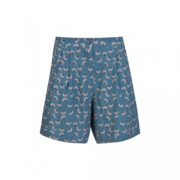 WOOLRICH - Damen Shorts - Printed Fluid Crepe Shorts - Blue Gink