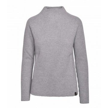 BELSTAFF - Damen Pullover - Fishermans Rib Roll Neck - grey melange -
