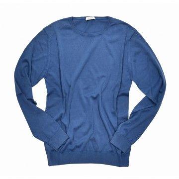 CROSSLEY - Herren Feinstrick - Organic Crew Neck - Dyed Blue