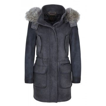 CERVOLANTE - Damen Jacke - Wool Fabric/Leather Coyote - Grey/Brown