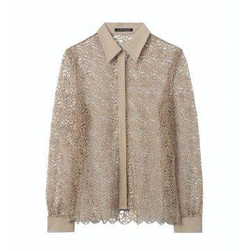 LUISA CERANO - Damen Spitzen Bluse - Seiden Patch - Natural Beige