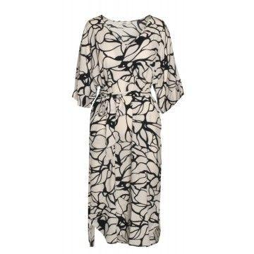 0039 ITALY - Damen Kleid - Kleid Kuba - Weiß Schwarz