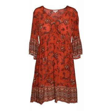 FROGBOX - Damen Kleid - Dress Aop Beige - Indian Flower