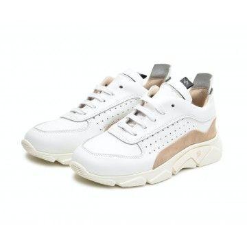 MOMA - Damen Sneaker - Box Tony - Bianco & Visone