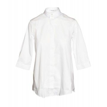 SOLUZIONE - Damen Bluse - Vokuhila - Weiß