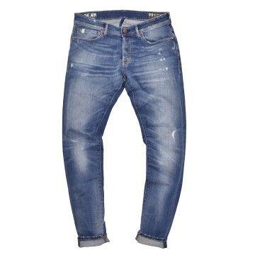 THE NIM - Herren Jeans - Dylan Slim Fit - Medium Repaired - Blue