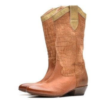 MOMA - Damen Stiefel - Tronchetto Donna - Bandolero Beat - Margherita Hunter Metal - Braun/Gold