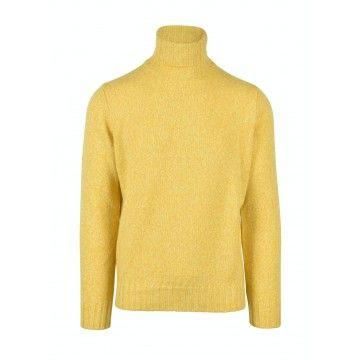 FILIPPO DE LAURENTIIS - Herren Pullover - Turtleneck Wool Cashmere Mouline - Limone