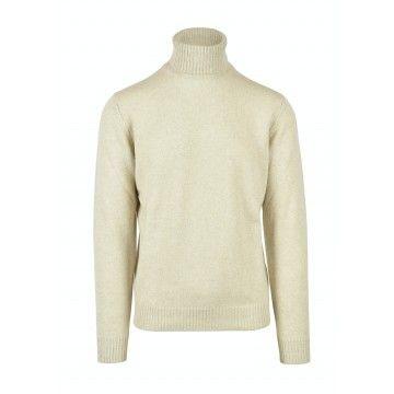 FILIPPO DE LAURENTIIS - Herren Pullover - Turtleneck Wool Cashmere - Greige
