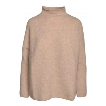 ZOE ONA - Damen Pullover - High Neck Sweater - Light Beige