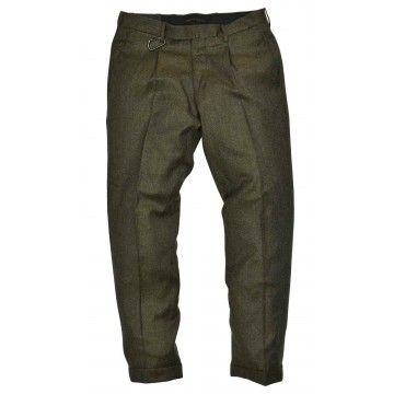 BRIGLIA - Herren Hose - Pantalone Schurwolle - Grün Melange