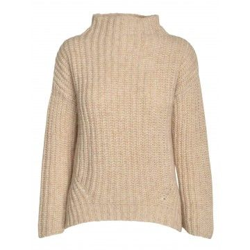 ZOE ONA - Damen Pullover - Grobstrick High Neck - Light Beige