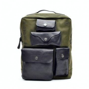 CAMPOMAGGI - Herren Rucksack - Backpack Large Canvas - Military/Black