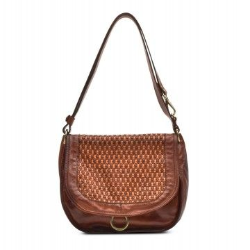 CAMPOMAGGI - Damen Handtasche - Shoulder Bag Large Honeycomb - Cognac