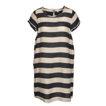 FROGBOX - Damen Kleid - Leinenkleid mit Streifen - Schwarz / Creme