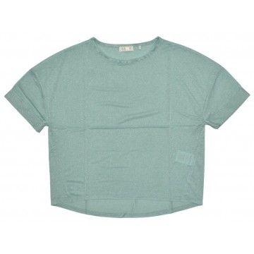 RICH & ROYAL - Damen T-Shirt - Lurex Shirt - Jade