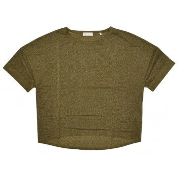 RICH & ROYAL - Damen T-Shirt - Lurex Shirt - Safari Green