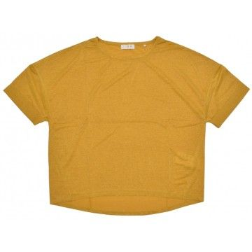 RICH & ROYAL - Damen T-Shirt - Lurex Shirt - Spring Gold