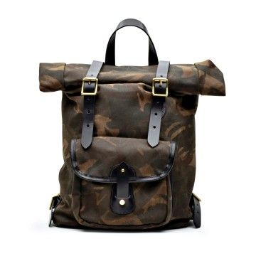 CROOTS ENGLAND - Rucksack - Vintage Canvas Roll Top Backpack - Camo Green