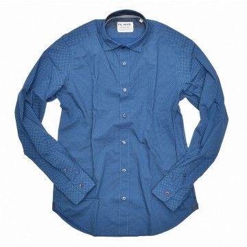 FIL NOIR - Herren Hemd - Roma HBD shaped fit  - Blue