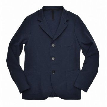 HARRIS WHARF LONDON - Herren Sakko -  Mens Standing Collar Blazer Piquet - Navy Blue