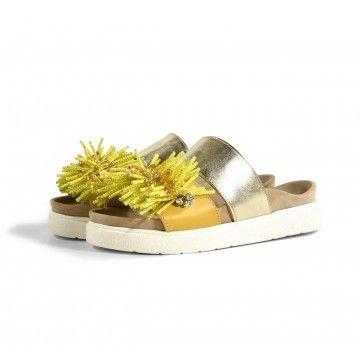 INUIKII - Damen Pantolette - Sandal - Front Pearl Yellow