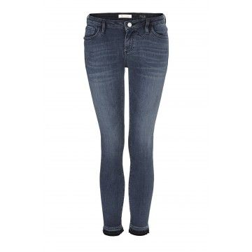 RICH & ROYAL - Skinny Jeans - Midi Blue Satin - Denim Blue