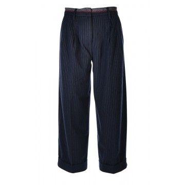 MYTHS - Damen Hose - Pantalone Culotte - Pinstripe Navy