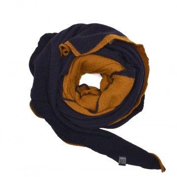 NEBO Woll Schal - Momo - Blue/Ocra