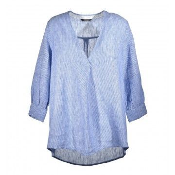 PRINCESS GOES HOLLYWOOD -  Leinenbluse - Striped Linen Blouse - Estate Blue