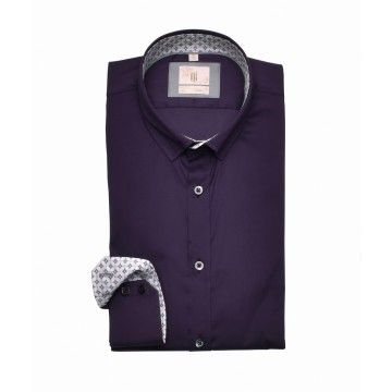 Q1 - Herren Hemd - Hemd Slim Fit - Violett