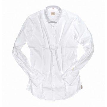 Q1 - Herren Hemd - Button-Down-Kragen - Weiß Uni